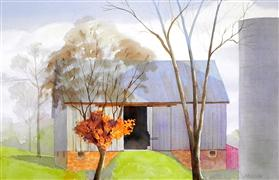 Architecture art,Landscape art,watercolor painting,Last Vestige of Fall