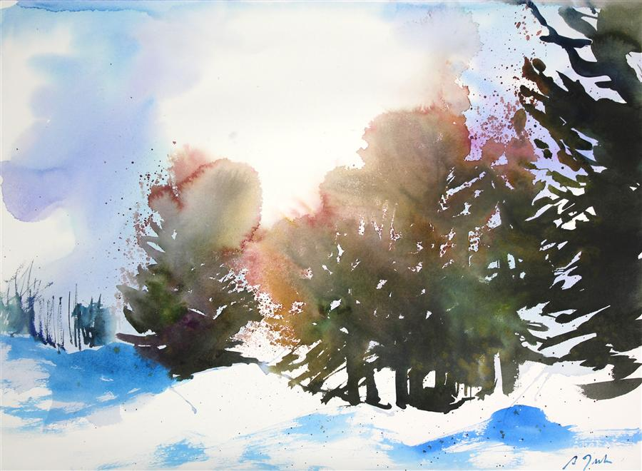 Original art for sale at UGallery.com | New England No. 204 by SUMIYO TORIBE | $425 | Watercolor painting | 22' h x 30' w | ..\art\watercolor-painting-New-England-No-204
