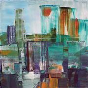 Abstract art,City art,acrylic painting,Motion Series: Elevated