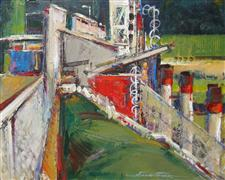 abstract art,buildings art,acrylic painting,Above the Penstocks
