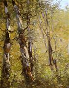 impressionism art,botanical art,oil painting,Birches