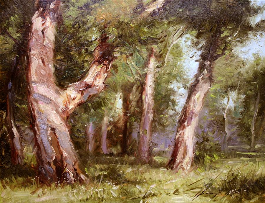 Original art for sale at UGallery.com | Old Pine Trees by VAHE YEREMYAN | $625 | Oil painting | 14' h x 18' w | ..\art\oil-painting-Old-Pine-Trees