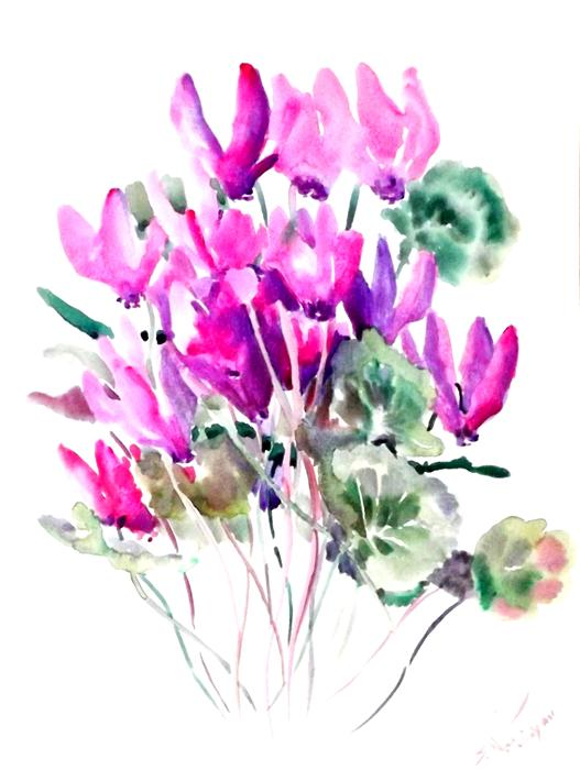 Cyclamens purple pink flowers suren nersisyan original art for sale at ugallery cyclamens purple pink flowers mightylinksfo