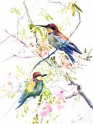 Animals art,Nature art,watercolor painting,Bee Eaters and Rosehip