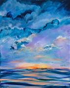 Nature art,Seascape art,acrylic painting,Island Sunset
