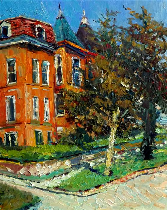 Original art for sale at UGallery.com | Old Orange Houses in Washington DC by SUREN NERSISYAN | $775 | Oil painting | 20' h x 16' w | ..\art\oil-painting-Old-Orange-Houses-in-Washington-DC