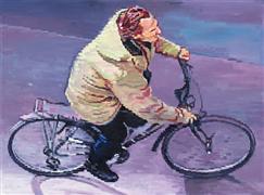 People art,City art,oil painting,Parisian Man Riding Bicycle