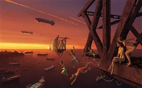 Children's art,Seascape art,Surrealism art,digital printmaking,August