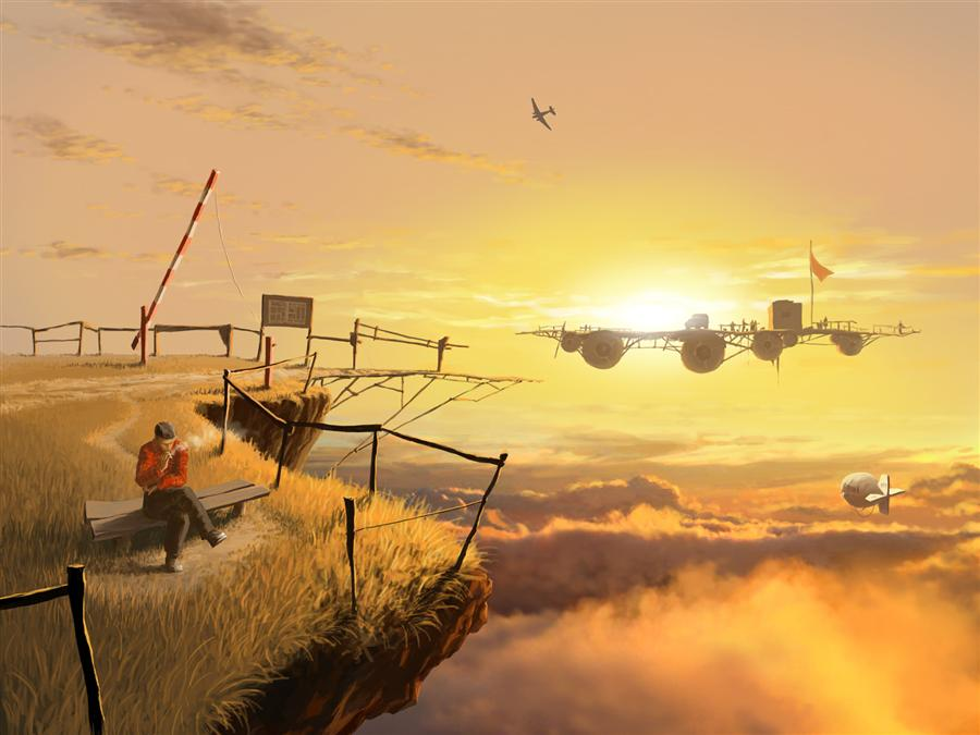 Original art for sale at UGallery.com | Crossing by ALEX ANDREEV | $1,350 |  | 19.7' h x 26.3' w | ..\art\printmaking-digital-Crossing
