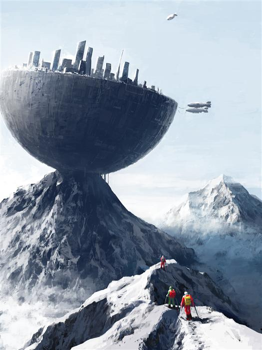 Original art for sale at UGallery.com | Edge City by Alex Andreev | $1,400 | digital printmaking | 26.3' h x 19.7' w | ..\art\printmaking-digital-Edge-City