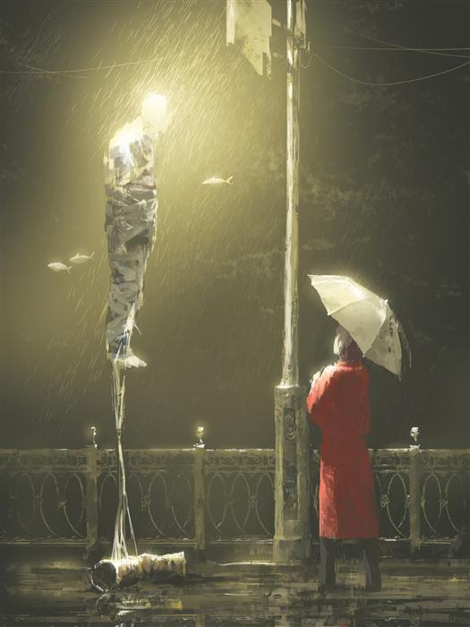 Original art for sale at UGallery.com | Under the Rain by ALEX ANDREEV | $1,350 |  | 26.3' h x 19.7' w | ..\art\printmaking-digital-Under-the-Rain