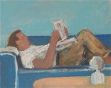 people art,pop culture art,acrylic painting,Reading the Paper