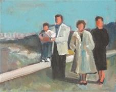 People art,Representational art,Vintage art,acrylic painting,Posing on the Side of the Road