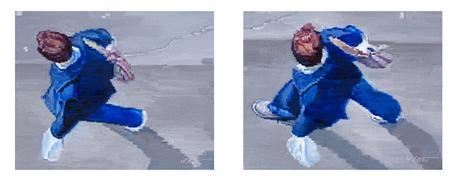 people art,city art,oil painting,Man in Blue Walking in Paris Diptych