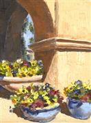 buildings art,botanical art,oil painting,Through the Adobe Arch