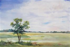 landscape art,nature art,watercolor painting,Low Country Sky
