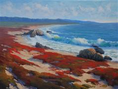 landscape art,seascape art,oil painting,Asilomar Beach Evening