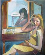 Expressionism art,People art,oil painting,The Dressing Room