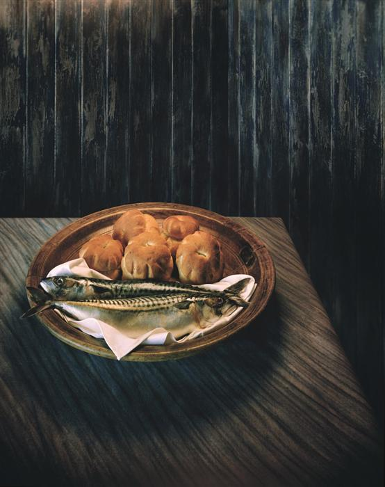 Original art for sale at UGallery.com | Loaves & Fishes by ART GRAFTS | $350 |  | 15' h x 12' w | ..\art\photography-Loaves-Fishes