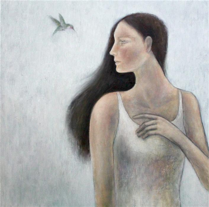 Original art for sale at UGallery.com | The Messenger by NAOKO PALUSZAK | $2,100 | Oil painting | 30' h x 30' w | ..\art\oil-painting-The-Messenger-28672