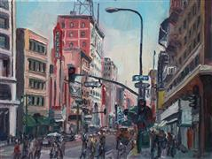 Impressionism art,City art,oil painting,On Broadway #2