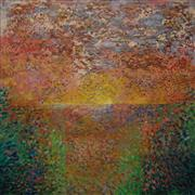 Abstract art,Landscape art,oil painting,Sunset