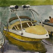 seascape art,vroom vroom! art,watercolor painting,Brilliant Marina, Sound Boat