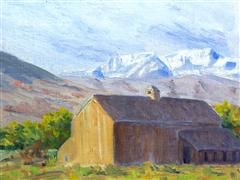 buildings art,landscape art,oil painting,Mountain Barn