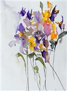 nature art,botanical art,watercolor painting,Violets and Buttercups