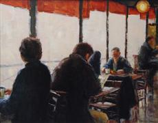 People art,City art,Travel art,oil painting,Coffee in Paris