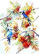 Animals art,Nature art,Flora art,watercolor painting,Blue Jays and Rowan