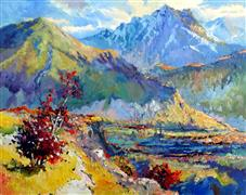 landscape art,nature art,oil painting,Early Evening in Mountains (Caucasus)
