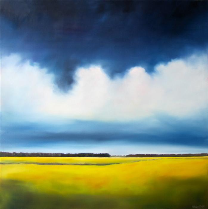 Original art for sale at UGallery.com | Stormy Marsh II by NANCY HUGHES MILLER | $1,675 | Oil painting | 36' h x 36' w | ..\art\oil-painting-Stormy-Marsh-II