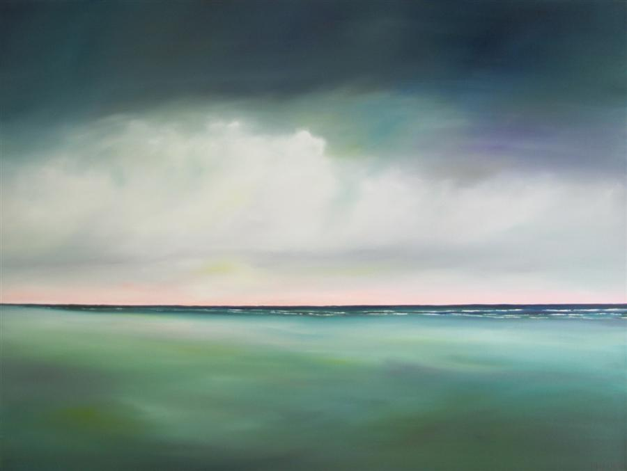 Original art for sale at UGallery.com | Morning Light Beach - Teal by NANCY HUGHES MILLER | $1,675 | Oil painting | 30' h x 40' w | ..\art\oil-painting-Morning-Light-Beach-Teal