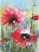 nature art,botanical art,watercolor painting,Poppies III