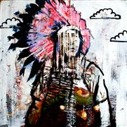 people art,pop culture art,western art,mixed media artwork,A Pink Headdress