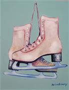 pop culture art,sports art,oil painting,My Old Skates