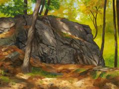 landscape art,nature art,oil painting,Glacial Boulder