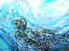 people art,seascape art,surrealism art,acrylic painting,Ocean Man