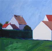 Architecture art,Landscape art,acrylic painting,Cluster of Houses, Mormant (blue sky)