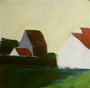 Architecture art,Landscape art,acrylic painting,Mormant Houses, Yellow Sky