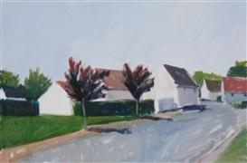Architecture art,Impressionism art,Landscape art,acrylic painting,Street with Houses, Mormant