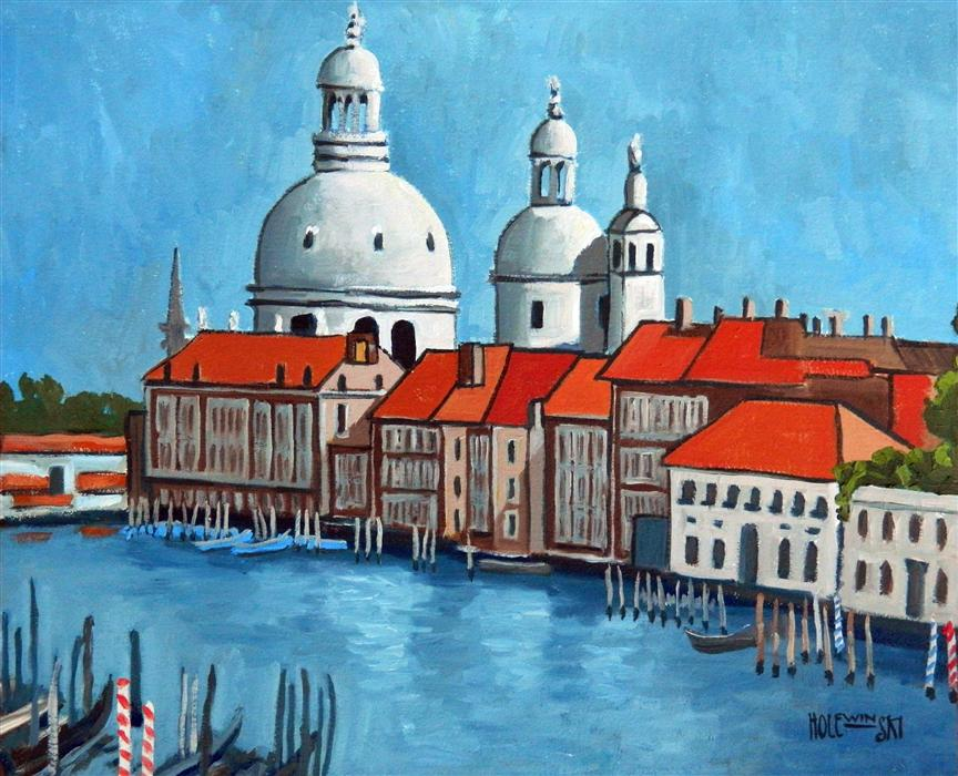 Original art for sale at UGallery.com | Canal Grande Venice by ROBERT  HOLEWINSKI | $1,175 |  | 21.5' h x 27' w | ..\art\oil-painting-Canal-Grande-Venice