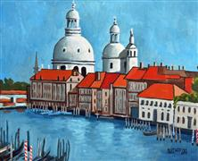 buildings art,city art,travel art,oil painting,Canal Grande Venice
