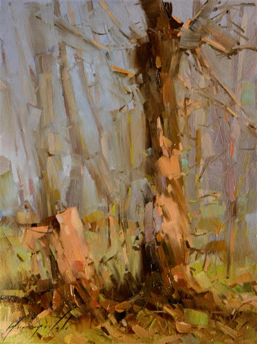 Original art for sale at UGallery.com | Dreamy Birches by VAHE YEREMYAN | $350 | Oil painting | 12' h x 9' w | ..\art\oil-painting-Dreamy-Birches