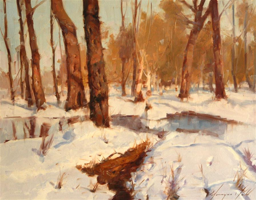 Original art for sale at UGallery.com | Shadows of Winter by VAHE YEREMYAN | $1,450 |  | 20' h x 24' w | ..\art\oil-painting-Shadows-of-Winter