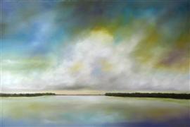 Impressionism art,Landscape art,Nature art,oil painting,Lake Clouds