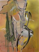Expressionism art,Nudes art,acrylic painting,Orange and Gray Figure