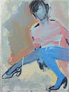 expressionism art,people art,acrylic painting,Pink and Blue Figure