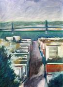 Impressionism art,Landscape art,City art,pastel artwork,Bay View from Telegraph Hill